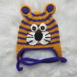 Other - Handmade Crochet Hat LSU 🐯 sz 6-18 months